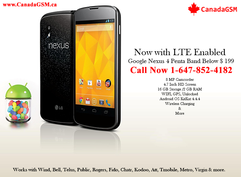 LG Nexus 4 E960 LTE 3G/4G Pentaband 8MP 16GB $199 All Carriers
