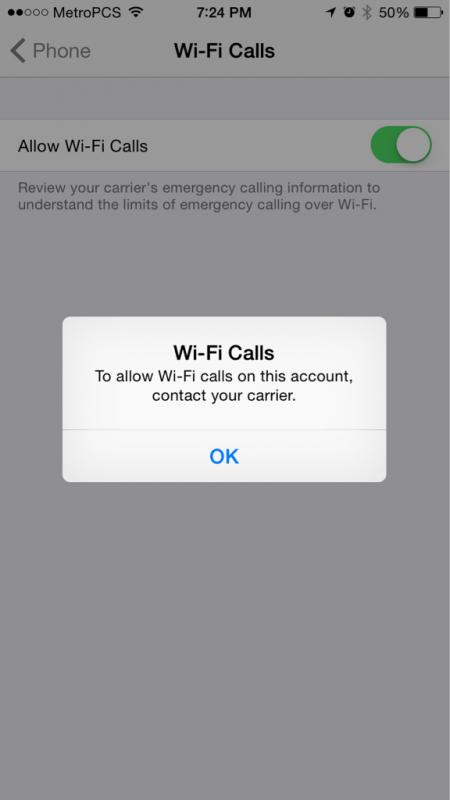 Enabling wifi calling for iPhone on MetroPCS
