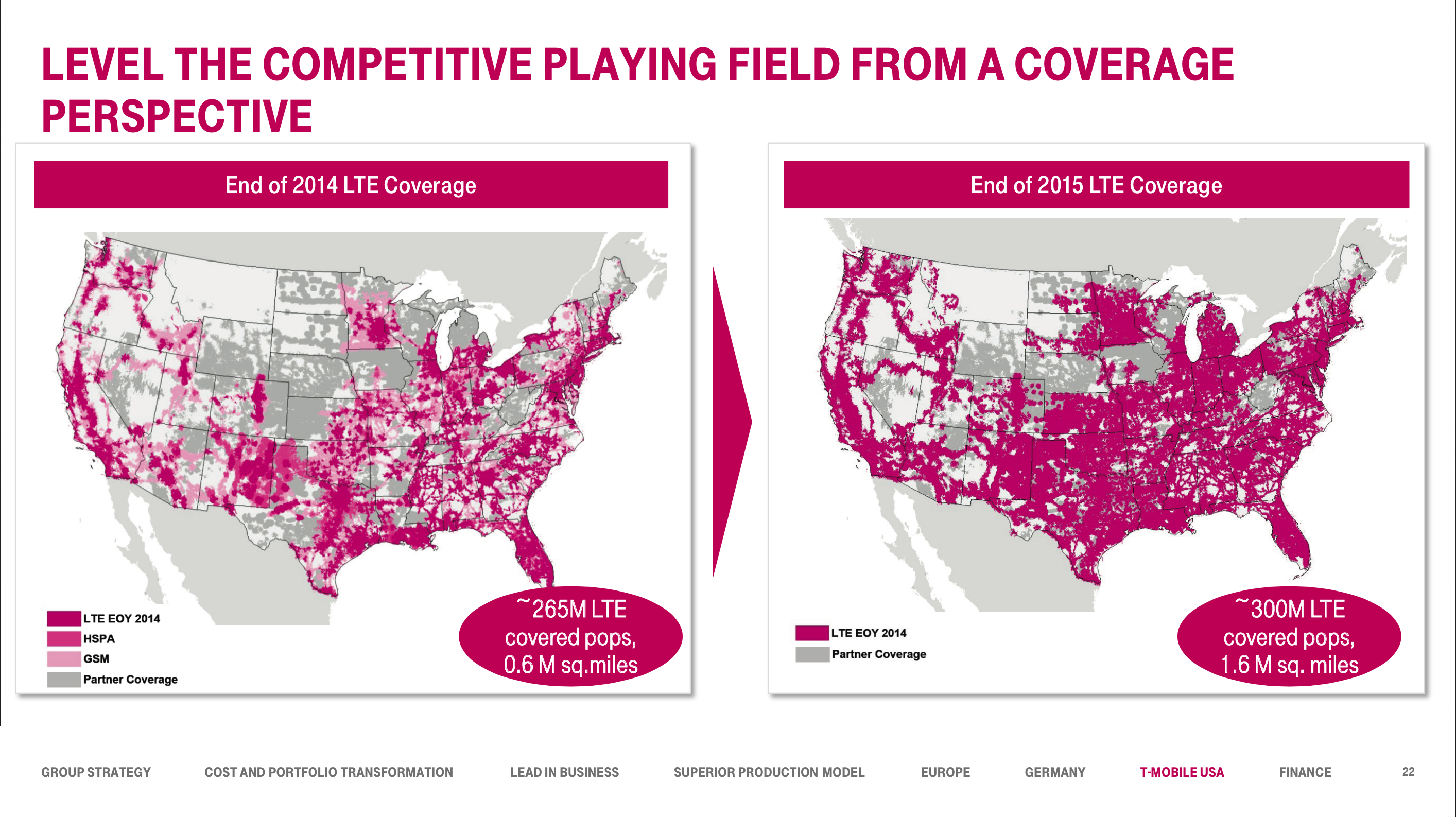 T-Mobile\'s Projection Coverage Expansion Map for End of 2015