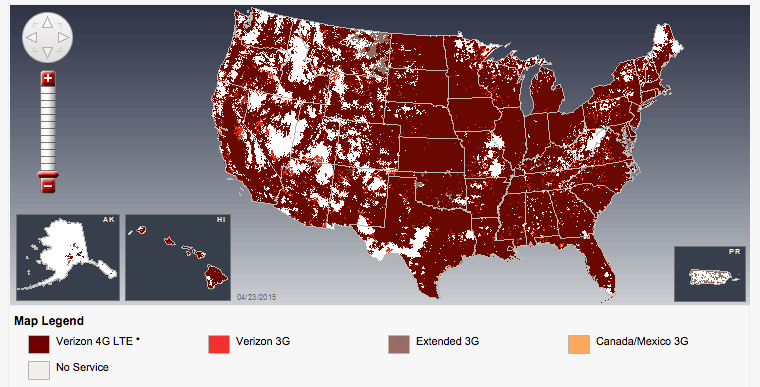 Verizons New Exaggerated Coverage Map To Compete With ATT - Verizon coverage map usa