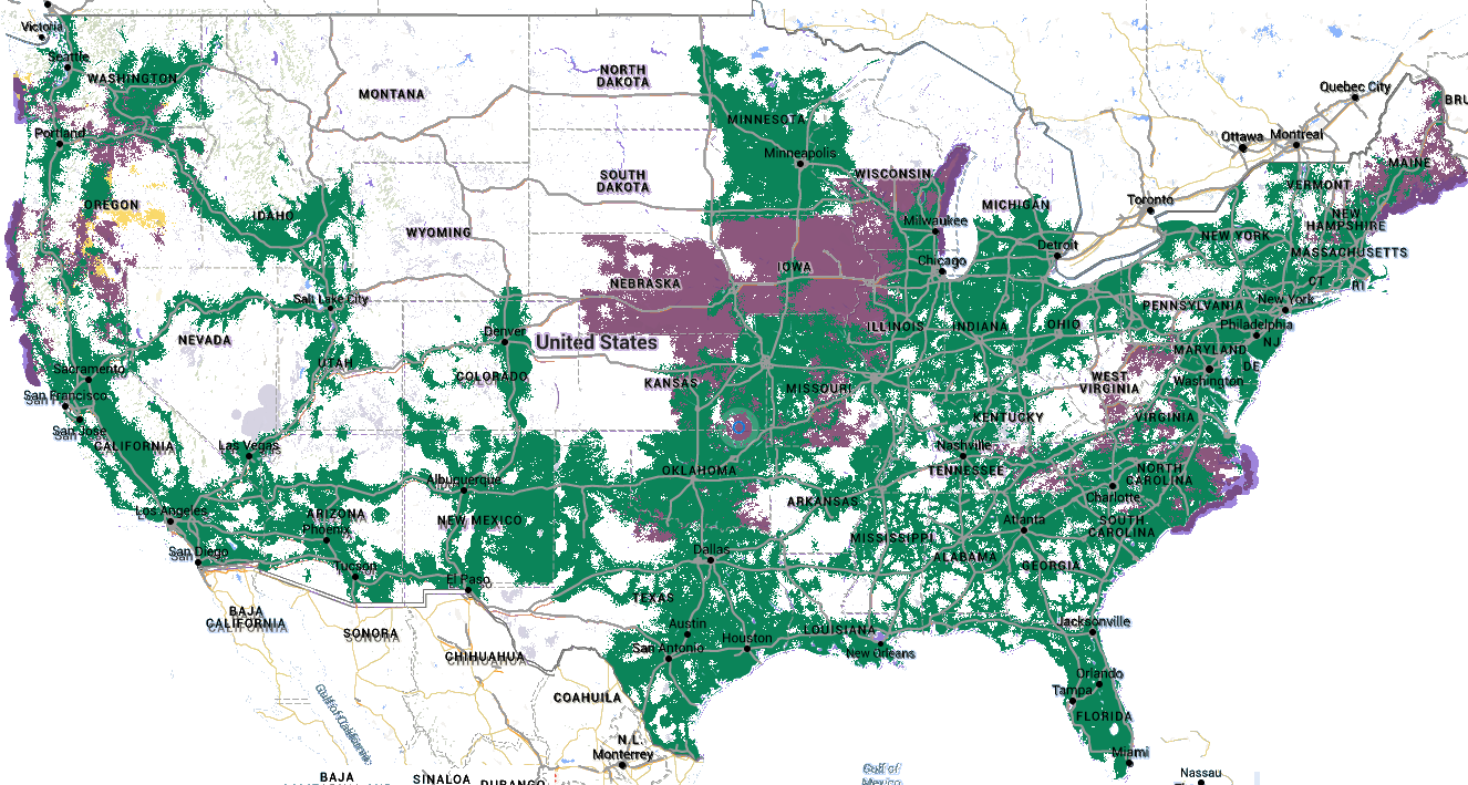 T-Mobile and US Cellular - Combined coverage maps