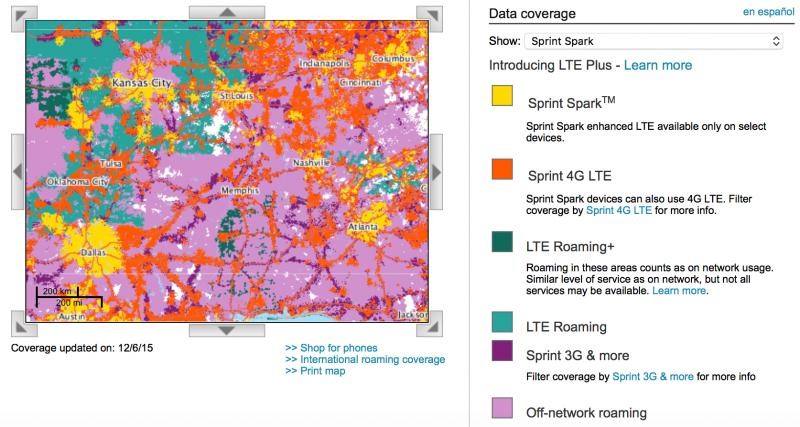 LTE Roaming Officially Live - Sprint lte coverage map