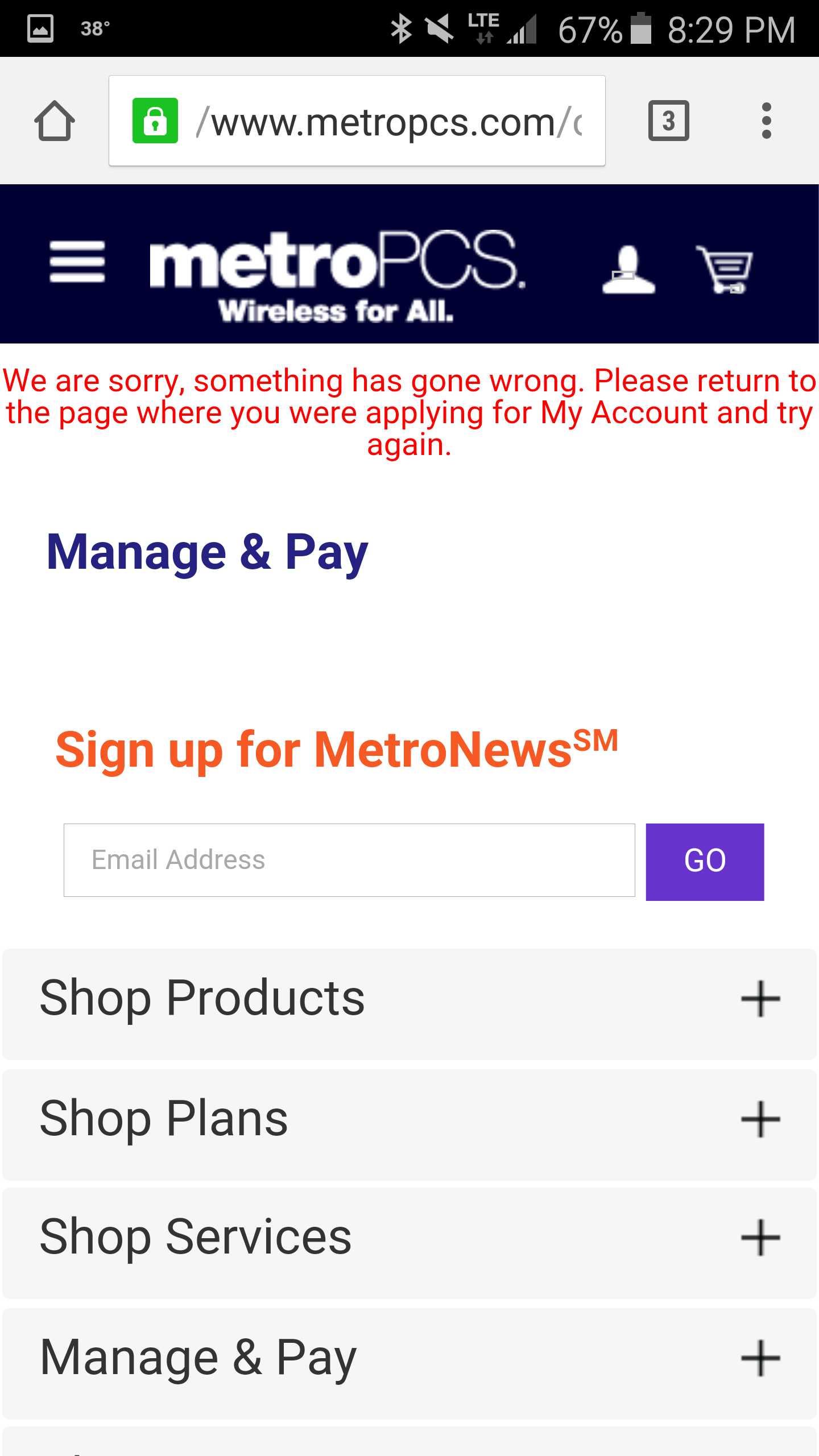 MetroPCS Problem with the metropcs website