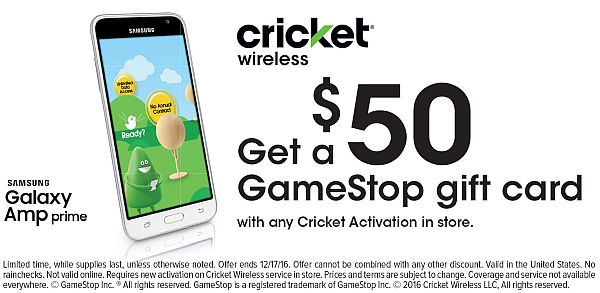$50 Gamestop Gift Card for porting-in a new line to Cricket