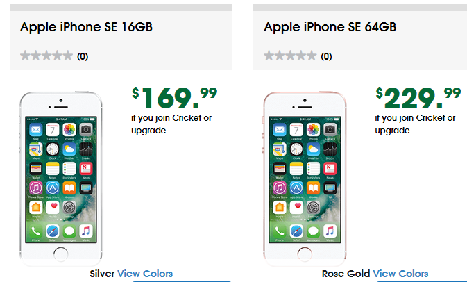 Cricket now selling iPhone SE 16GB $169 and iPhone SE 64GB