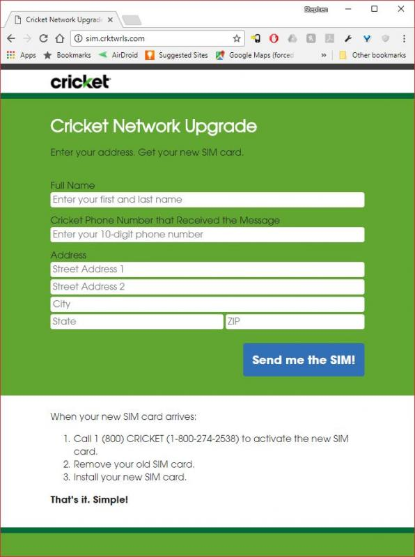 Cricket Requiring Me To Get A New SIM By Nov 10th