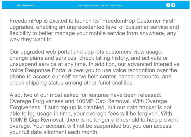FreedomPop Overage Forgiveness and 100MB Cap Removed