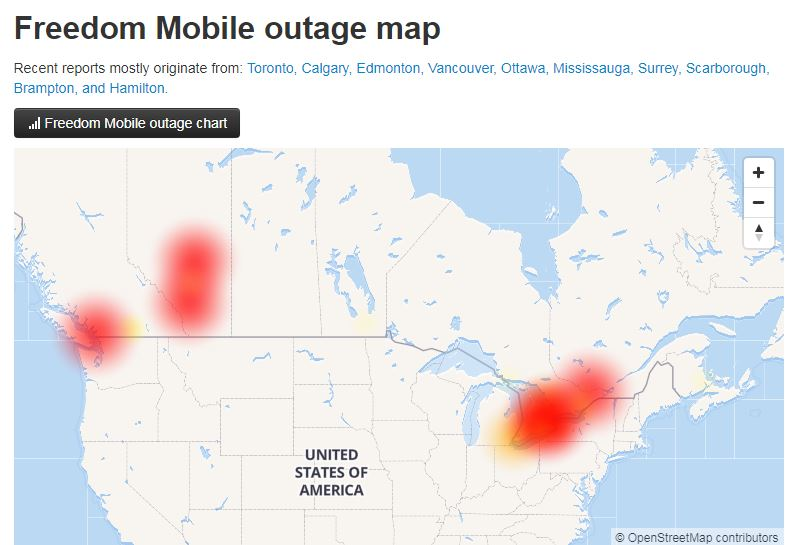 Freedom Mobile outage
