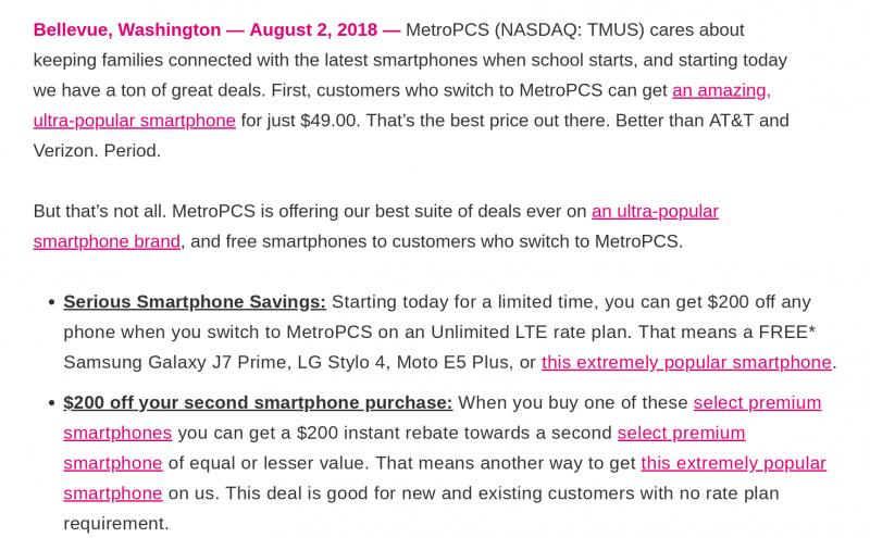 MetroPCS $200 off for switchers - part of back to school push