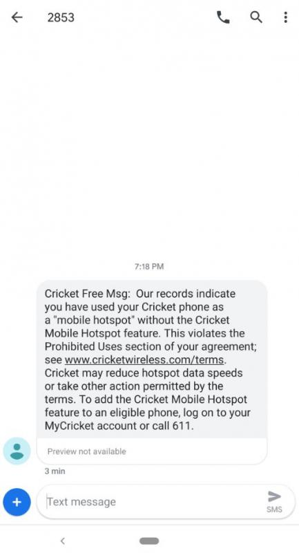 Cricket Text Message about Unauthorized