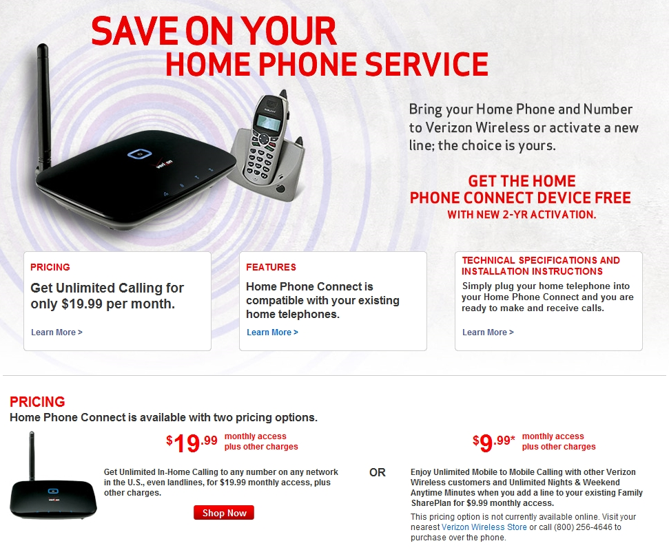 Verizon Home Phone Packages Service Plans