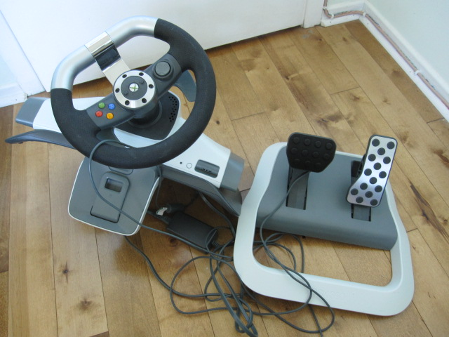 How To Unlock Steering Wheel >> [SOLD] XBOX 360 steering wheel and pedal board - like new